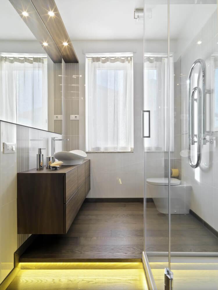 Badkamer op houten vloer maken wood silestone vanity creative - Badkamer houten vloer ...