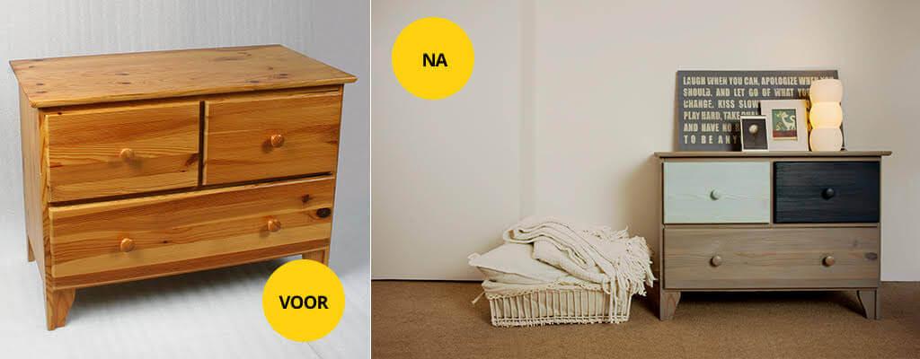 houten meubels schilderen voor en na